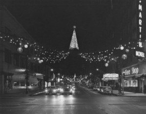 Christmas lights downtown in the 1950s or '60s.