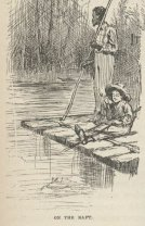 Huck and Jim on raft, 1884