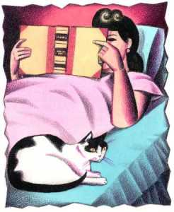 Reading in bed illustration
