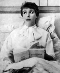 vintage sick woman with book