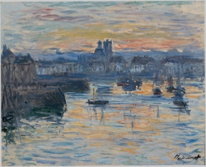 "Monet, ""Port of Dieppe, Evening""  (much more beautiful when you see the painting)"