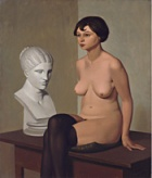 "Georg Scholz, ""Seated nude with plaster bust."""