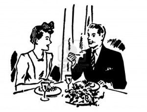 Housewife and husband eating illustration