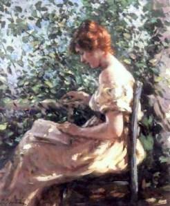 Portrait of a woman reading by Lillian Mathilde Genth