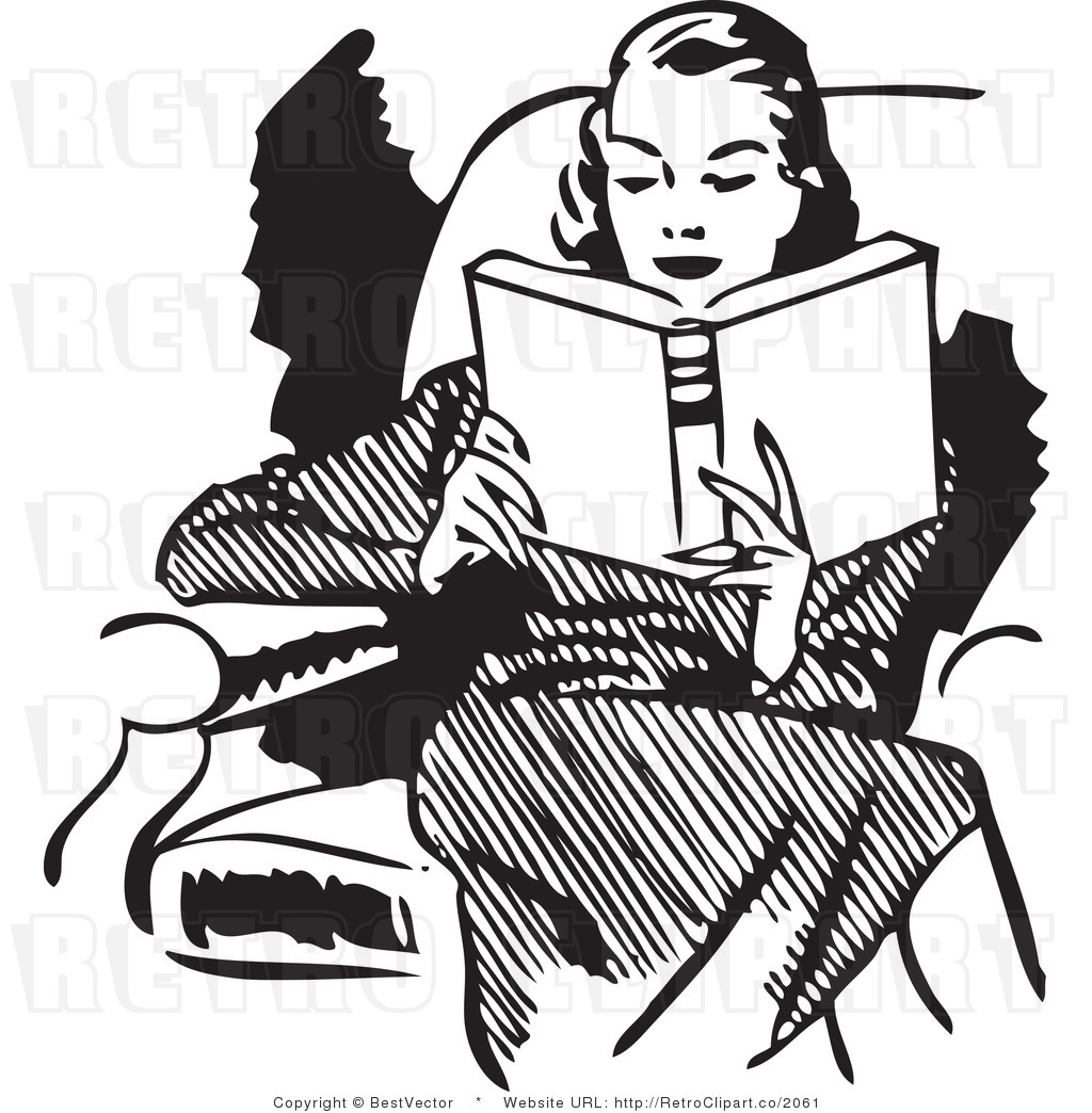 Woman Reading Clip Art Vintage Mirabile Dictu