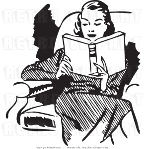 Woman reading clip art vintage
