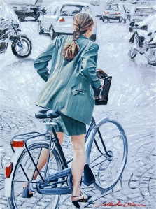 painting of woman bicycling in Paris, Sharon Rusch Shaver