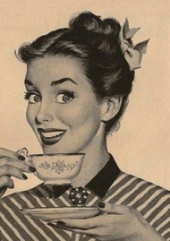 woman drinking tea retro
