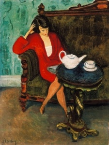 """Red-dressed Woman in a Green Room"" by Róbert Berény"