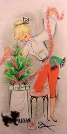 vintage christmas card woman in red pants christmas tree