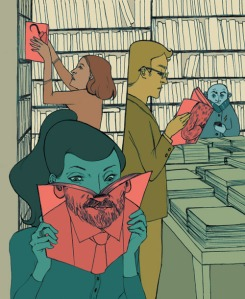 "Illustration of bookstore from ""Globe and Mail"""