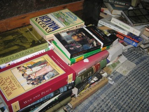 Pretend you didn't see this:  books on the bedroom floor.