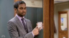"Tom on ""Parks and Recreation"" makes a paper iPhone after barred by a judge from using electronics for a week."