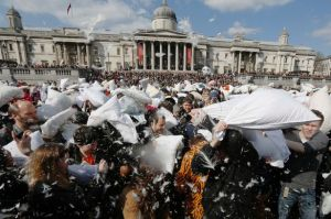 Pillow fight at Trafalgar Square.   I'm SO glad I missed this.
