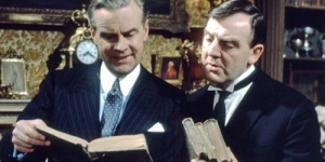 Ian Carmichael as Lord Peter Wimsey and Glyn Houston as Bunter