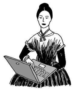 old-fashioned woman with computer