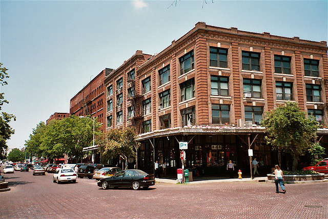Old Market District, Omaha, in summer.