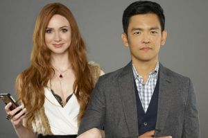 "Karen Gillan and John Cho in ""Selfie"" (a canceled sitcom)"