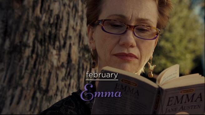 """Bernadette (Kathy Baker) reading """"Emma"""" in """"The Jane Austen Book Club"""""""