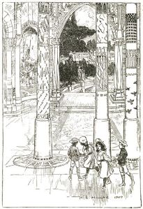 "Frontispiece  by H. r. Millar to E. Nesbit's ""The Enchanted Castle"""