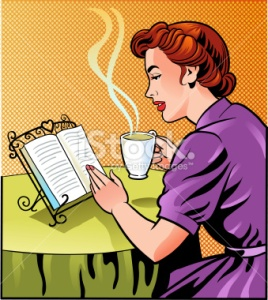 vintage woman reading book stock-illustration-21375543-vintage-woman-reading-book-and-holding-cup-of-coffee