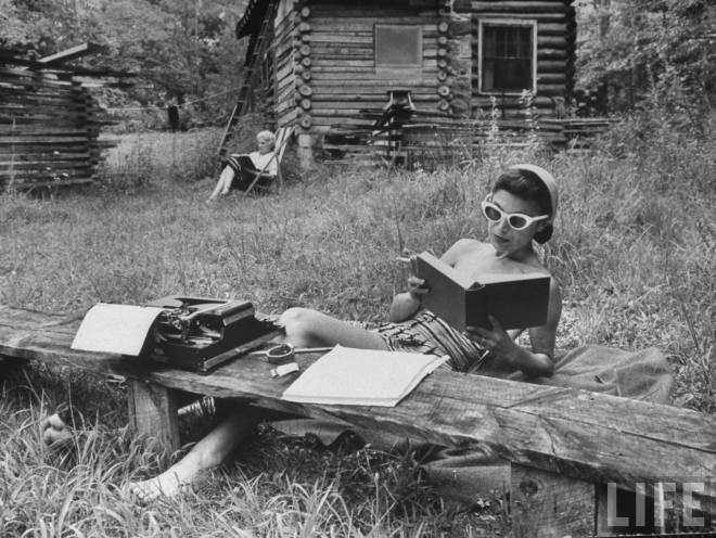 A Woman Reading in the Woods, 1959 (LIfe)