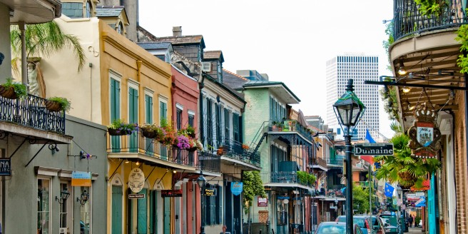 The New Orleans French Quarter is more dramatic than historic downtown Winona, Minnesota
