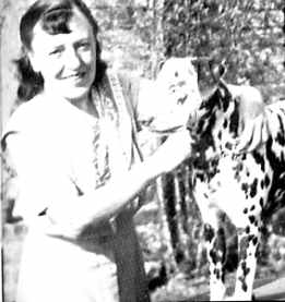 Dodie Smith andher dalmatian.