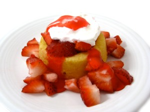 Strawberry shortcake (though we put more whipped cream on top)
