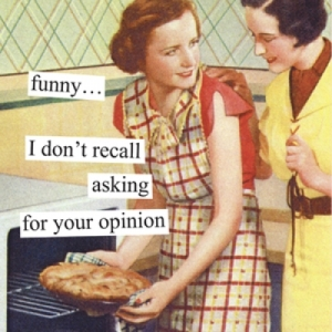 "Anne Taintor ""funny I don't recall asking for your opinions' 5398_OpinionBeverageNapkin-500x500"