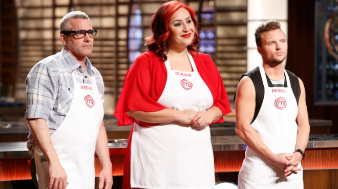 The finalists on Masterchef: Stephen, Claudia (the winner), and Derrick.