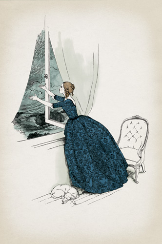 An illustration of Elena looking out the window (Folio Society edition)