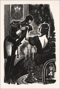 Illustration of Bazarov and Madame Odintsov, by Fritz Eichenberg (Heritage Press edition of Fathers and Sons)