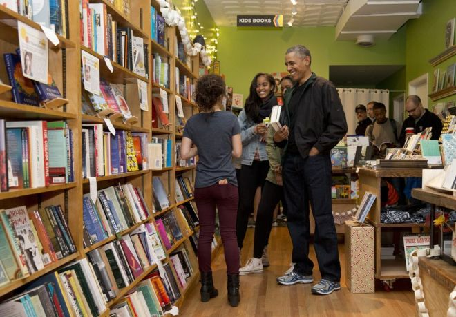 PrPresident Barack Obama and daughters Malia and Sasha shopped at Upshur Street Books on Small Business Saturday.