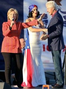 Hillary with Kate Perry and Bil.