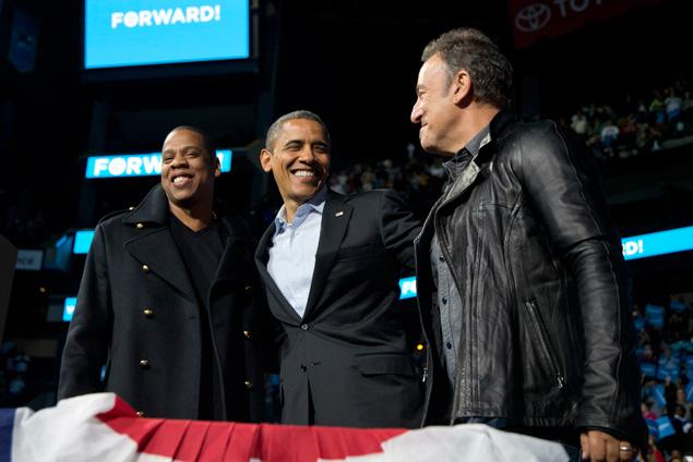 Obama and Bruce Springsteen in Iowa, Nov. 5, 2012