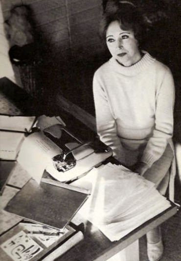 Anais Nin with her Olympia typewriter, 1963