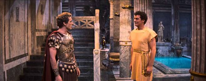Marcellus (Richard Burton) and Demetrius (Victor Mature), his slave, in The Robe/