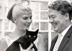 Elizabeth Jane Howard, her husband Kingsley Amis, and a cat.