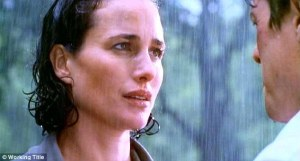 Andie MacDowell in the rain (Four Weddings and a Funeral)
