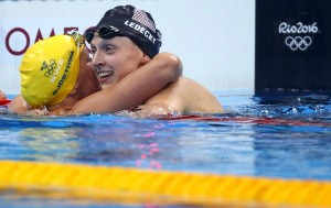 2016 Rio Olympics - Swimming - Final - Women's 200m Freestyle Final - Olympic Aquatics Stadium - Rio de Janeiro, Brazil - 09/08/2016. Katie Ledecky (USA) of USA and Sarah Sjostrom (SWE) of Sweden celebrate