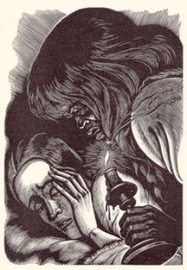 Fritz Eichenberg's woodcut illustration of Bertha examining Jane.