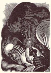 Fritz Eichenberg's woodcut illustration of Bertha examining Jane.