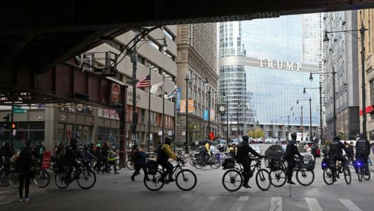 Bicyclists protest Trump Tower in Chicago, Nov. 18