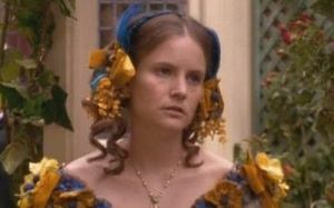 "Jennifer Jason Leigh tries to look like a plain Catherine in ""Washington Square."""