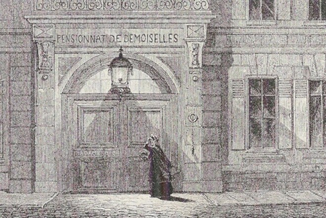 Lucy knocking on the door of the school in Villette.