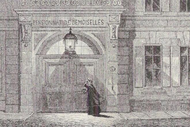 Lucy knocking on the door of the school in Villette.